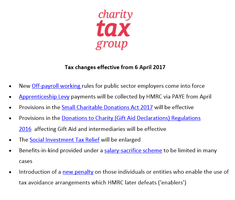 Tax changes effective from 6 April 2017 - Charity Tax Group